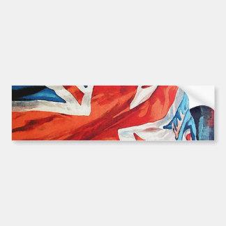 Bandera ondulada de Union Jack Británicos del tiem Pegatina Para Auto
