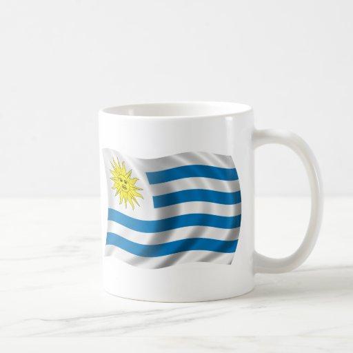 Bandera ondulada de Uruguay Taza De Café