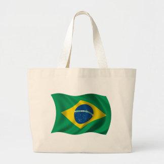 Bandera ondulada del Brasil Bolsa Tela Grande