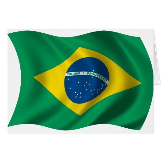 Bandera ondulada del Brasil Felicitación