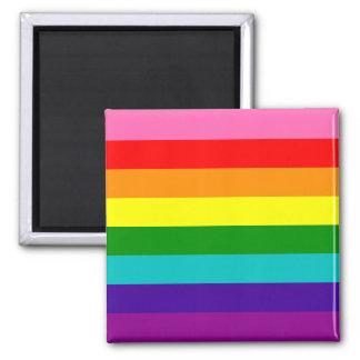 Bandera original del arco iris del orgullo gay de imán cuadrado