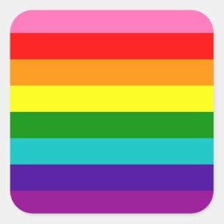 Bandera original del arco iris del orgullo gay de pegatina cuadrada