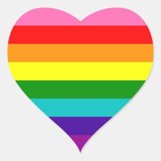 Bandera original del arco iris del orgullo gay de pegatina en forma de corazón