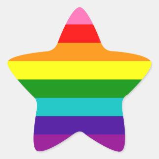 Bandera original del arco iris del orgullo gay de pegatina en forma de estrella