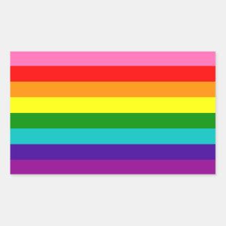 Bandera original del arco iris del orgullo gay de pegatina rectangular