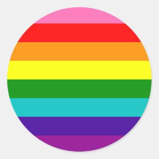 Bandera original del arco iris del orgullo gay de pegatina redonda