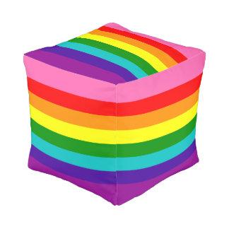 Bandera original del arco iris del orgullo gay de pouf cuadrado