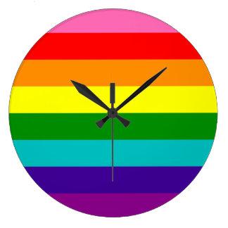 Bandera original del arco iris del orgullo gay de reloj redondo grande