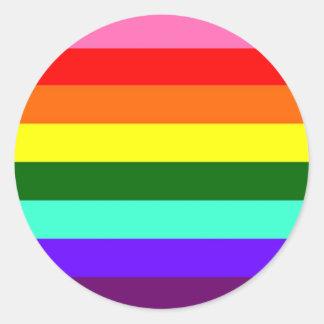 Bandera original del orgullo gay pegatina redonda