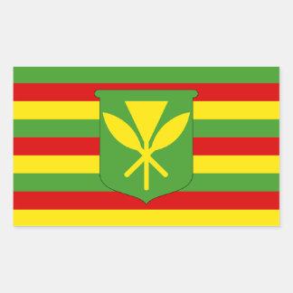 Bandera original Kanaka Maoli de Hawaii Pegatina Rectangular