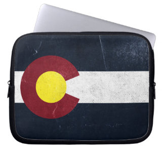 Bandera oscura del Grunge de Colorado Mangas Computadora