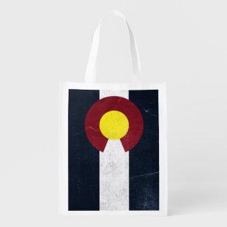 Bandera oscura del Grunge de Colorado (unilateral) Bolsas De La Compra