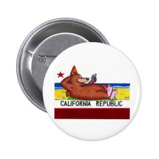 Bandera oxidada del oso de California Pin Redondo 5 Cm