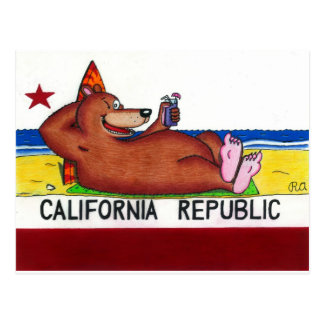 Bandera oxidada del oso de California Tarjetas Postales