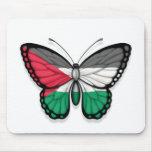 Bandera palestina de la mariposa tapete de ratones