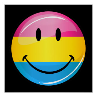 Bandera Pansexual sonriente del orgullo Póster