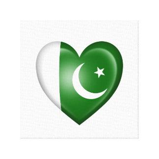 Bandera paquistaní del corazón en blanco impresion en lona