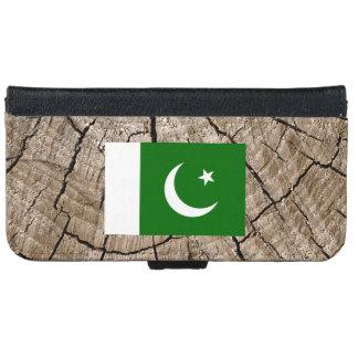 Bandera paquistaní en corteza de árbol funda cartera para iPhone 6
