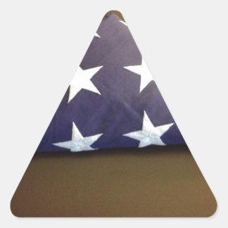 Bandera para un héroe caido - estrellas del azul y calcomanías trianguladas personalizadas