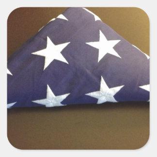 Bandera para un héroe caido - estrellas del azul y calcomanía cuadrada
