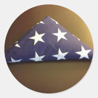 Bandera para un héroe caido - estrellas del azul y pegatina redonda