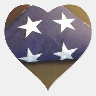 Bandera para un héroe caido - estrellas del azul y calcomanía corazón