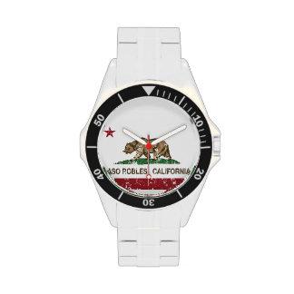 Bandera Pasa Robles del estado de California Relojes De Mano