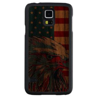 Bandera patriótica americana de Eagle Funda De Galaxy S5 Slim Nogal