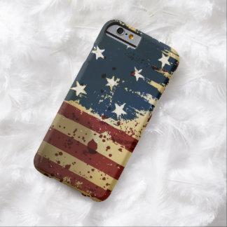 Bandera patriótica americana del Grunge Funda De iPhone 6 Barely There