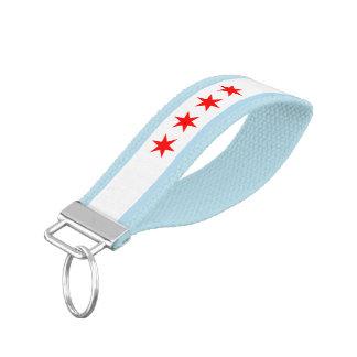 Bandera patriótica de Chicago Llavero De Pulsera