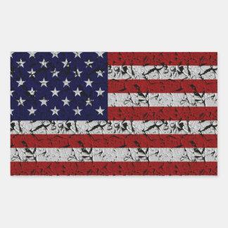 Bandera patriótica de los E.E.U.U. del americano Pegatina Rectangular