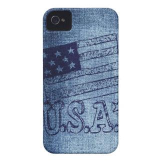 Bandera patriótica de los E.E.U.U. en azul del dri iPhone 4 Cobertura
