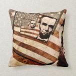 Bandera patriótica de presidente Abraham Lincoln Cojines