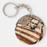 Bandera patriótica de presidente Abraham Lincoln Llavero Redondo Tipo Pin