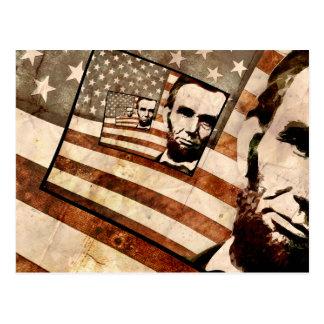 Bandera patriótica de presidente Abraham Lincoln Tarjetas Postales