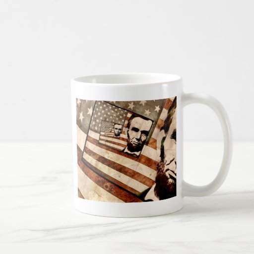Bandera patriótica de presidente Abraham Lincoln Taza Básica Blanca