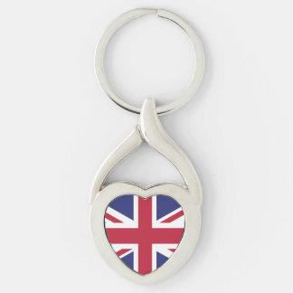 Bandera patriótica de Reino Unido Llavero Plateado En Forma De Corazón