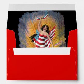 Bandera patriótica de Srta. Liberty los E.E.U.U. Sobres