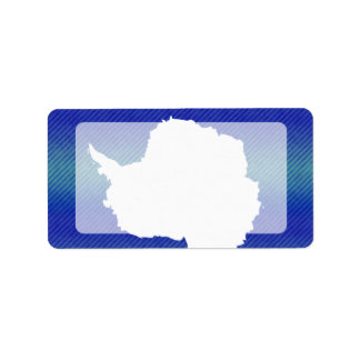Bandera pelada moderna de Antartican Etiqueta De Dirección