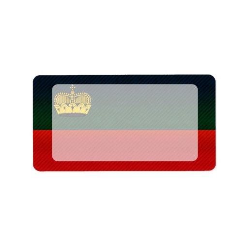 Bandera pelada moderna de Liechtensteiner Etiquetas De Dirección