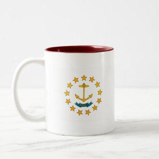 Bandera pelada moderna del isleño de Rhode Taza De Café