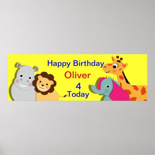 Bandera personalizada animal del feliz cumpleaños  poster