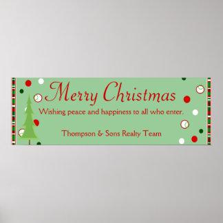 Bandera personalizada de las Felices Navidad Poster