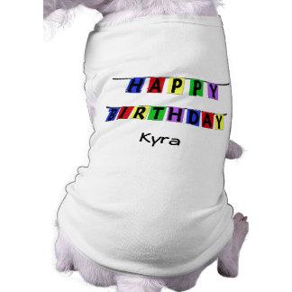 Bandera personalizada del feliz cumpleaños playera sin mangas para perro