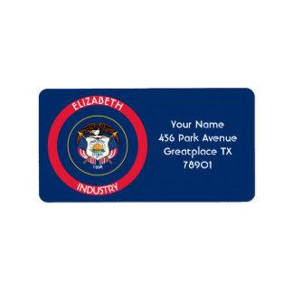 Bandera personalizada estado de la colmena de Utah Etiqueta De Dirección