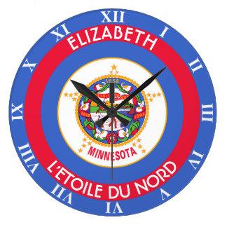 Bandera personalizada estado de la estrella del reloj redondo grande