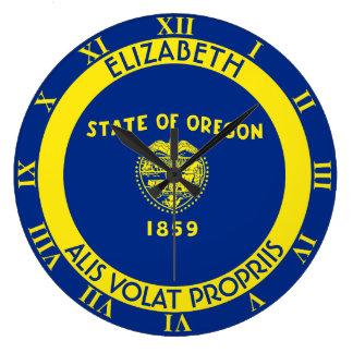 Bandera personalizada estado del castor de Oregon Reloj Redondo Grande