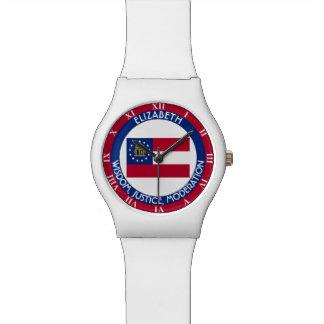 Bandera personalizada estado del melocotón de relojes de mano