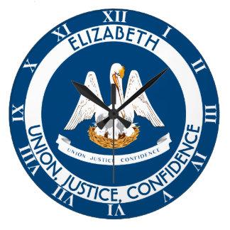 Bandera personalizada estado del pelícano de reloj redondo grande
