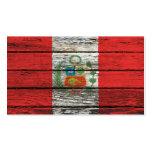 Bandera peruana con efecto de madera áspero del gr tarjeta de visita